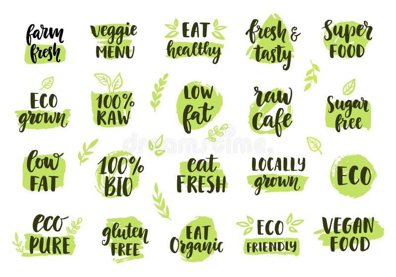 Bio, eco, logotipos orgánicos fijados stock de ilustración