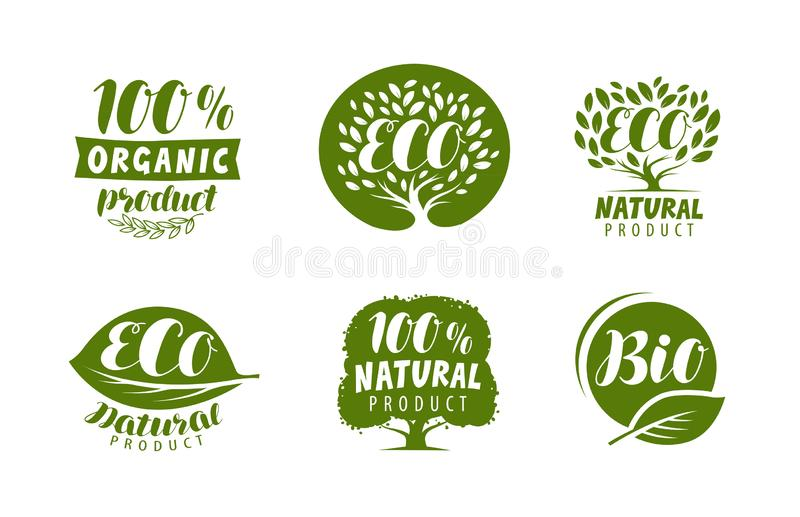 Bio, ecoembleem of etiket Natuurlijk, biologisch product, vector geplaatste kentekens stock illustratie