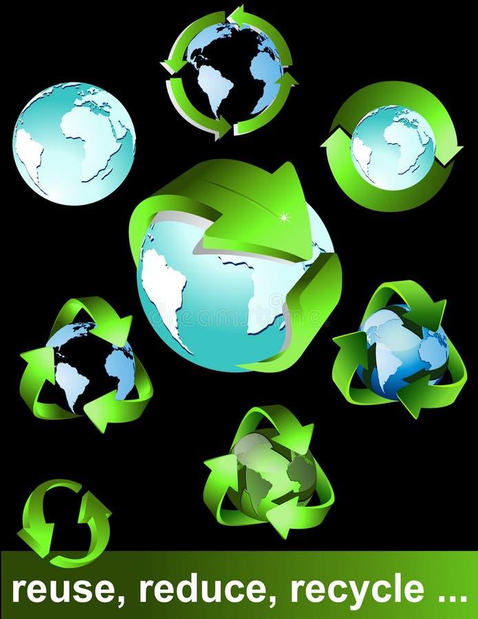 bio ecogreen återanvänder symboler stock illustrationer