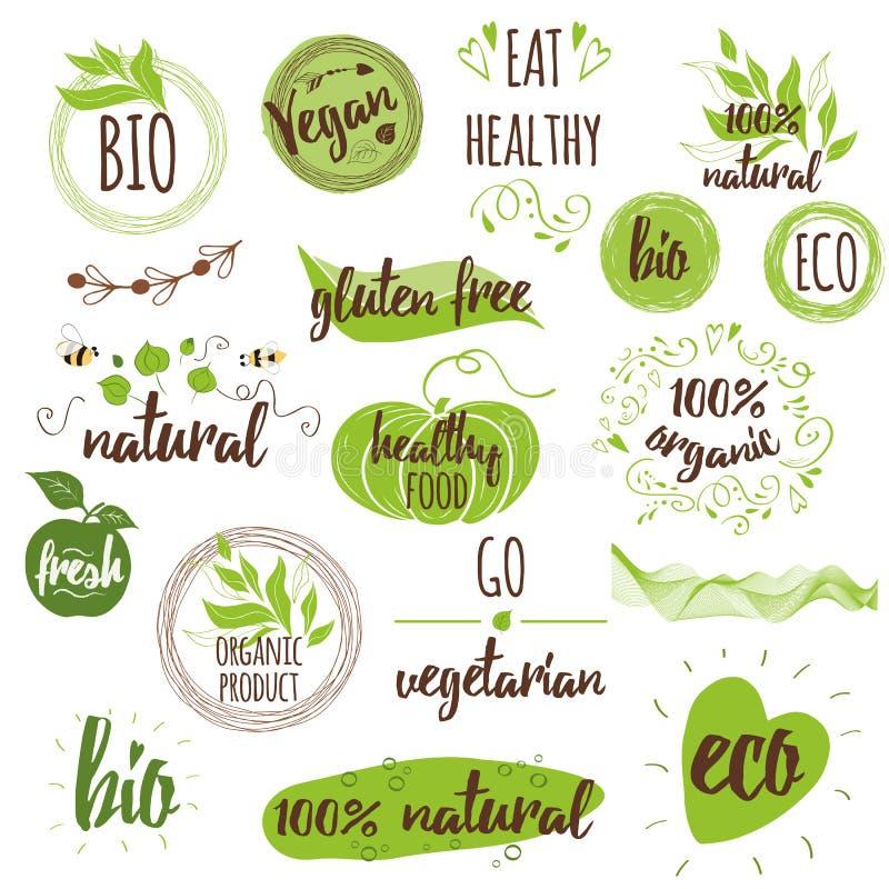 Bio, ecologia, logotipos orgânicos, ícones, etiquetas, etiquetas Grupo tirado mão com vegetariano, crachás naturais ilustração do vetor