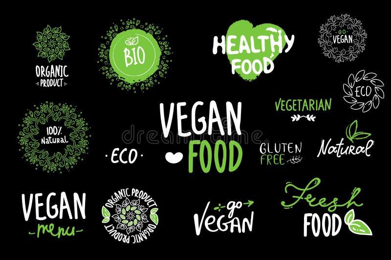 Bio, ecologia, logotipos orgânicos e ícones, etiquetas, etiquetas Bio crachás saudáveis tirados mão do alimento, grupo de cru, ve ilustração do vetor