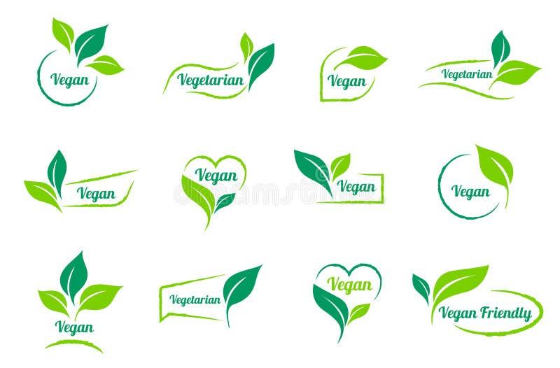 Bio-, ecologia Modelli delle icone dell'autoadesivo del vegano di vettore messi illustrazione vettoriale