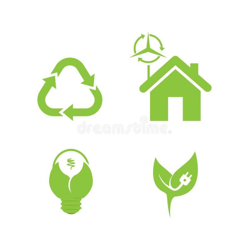 Bio ecology Modern minimalistic flat design. Bio ecology vector. Set includes- recycle icon, green house, leafs, tools, plug, eco bulb icons. Modern minimalistic stock illustration