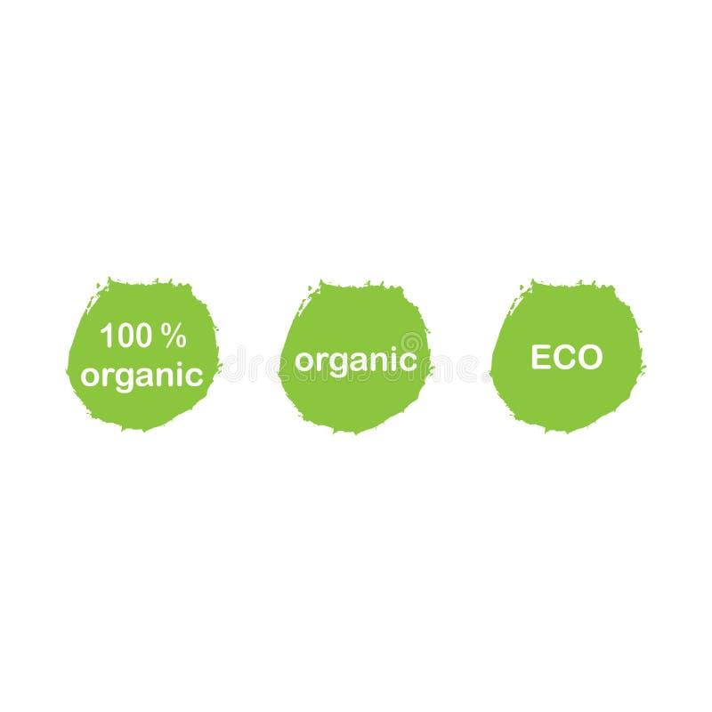 Bio, ekologi, organiska logoer och symboler, etiketter, etiketter bio sunda matemblem, ställde in av rått, strikt vegetarian, sun vektor illustrationer