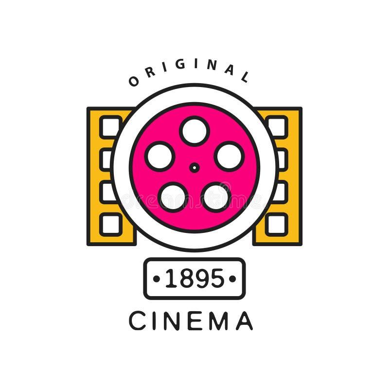 Bio eller filmlogomall Begrepp för etikett för filmbransch med den stora retro rullen och bildband Plan linje vektorsymbol vektor illustrationer