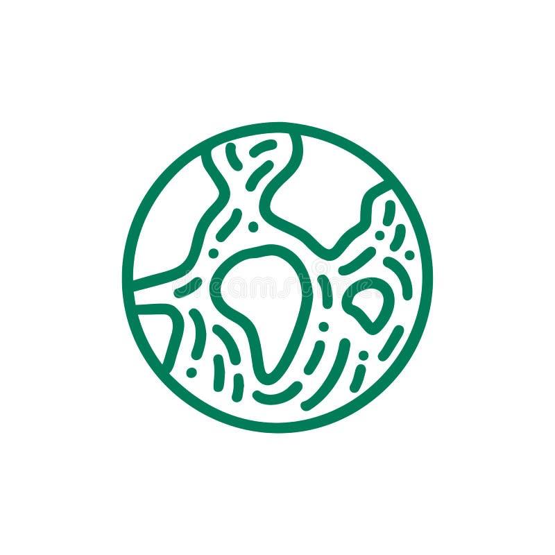 Bio emblema redondo en un estilo linear del círculo Logotipo de la tierra del planeta Insignia del extracto del vector para el di stock de ilustración