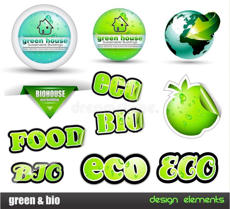 Bio ensemble d'Eco et de vert de collants illustration stock