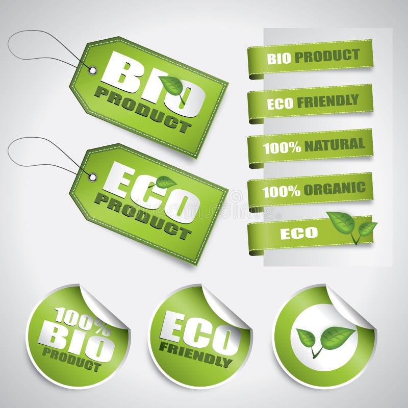 Bio escrituras de la etiqueta y etiquetas del verde stock de ilustración