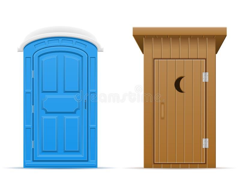 Bio et en bois illustration extérieure de vecteur de toilette illustration stock