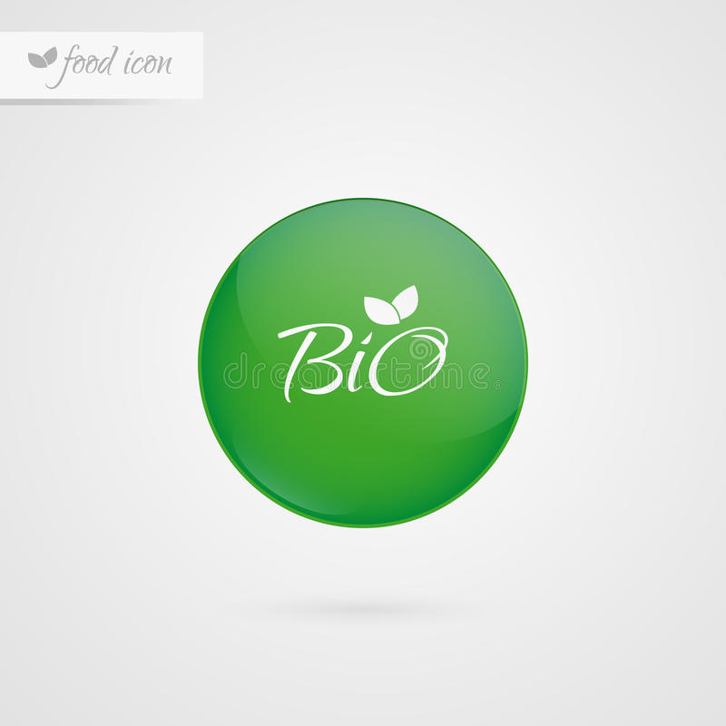 Bio- etichetta del cerchio Icona di logo dell'alimento Segno dell'autoadesivo di vettore Simbolo dell'illustrazione per il prodot illustrazione di stock