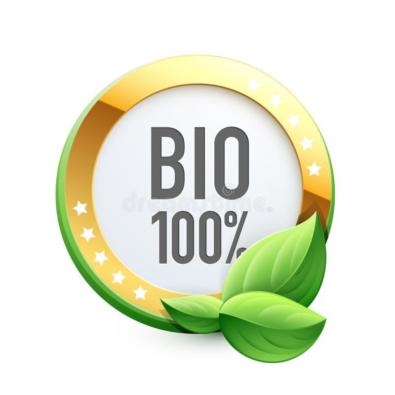 Bio 100% etikett vektor illustrationer