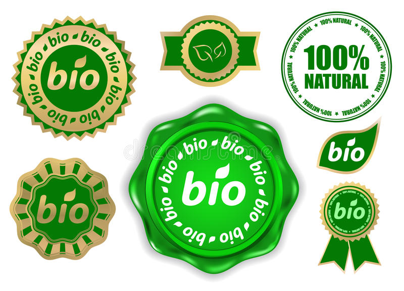 Bio etiketten stock illustratie