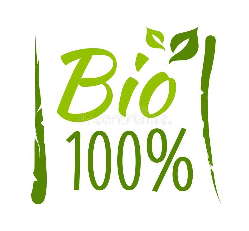 Bio etiqueta 100% ilustração royalty free