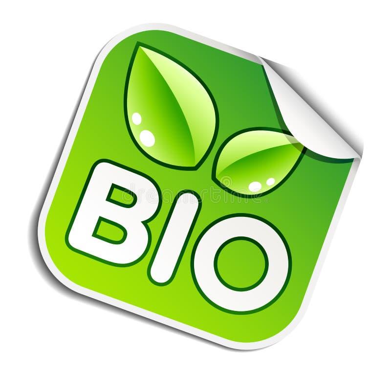 Bio etiqueta engomada ilustración del vector