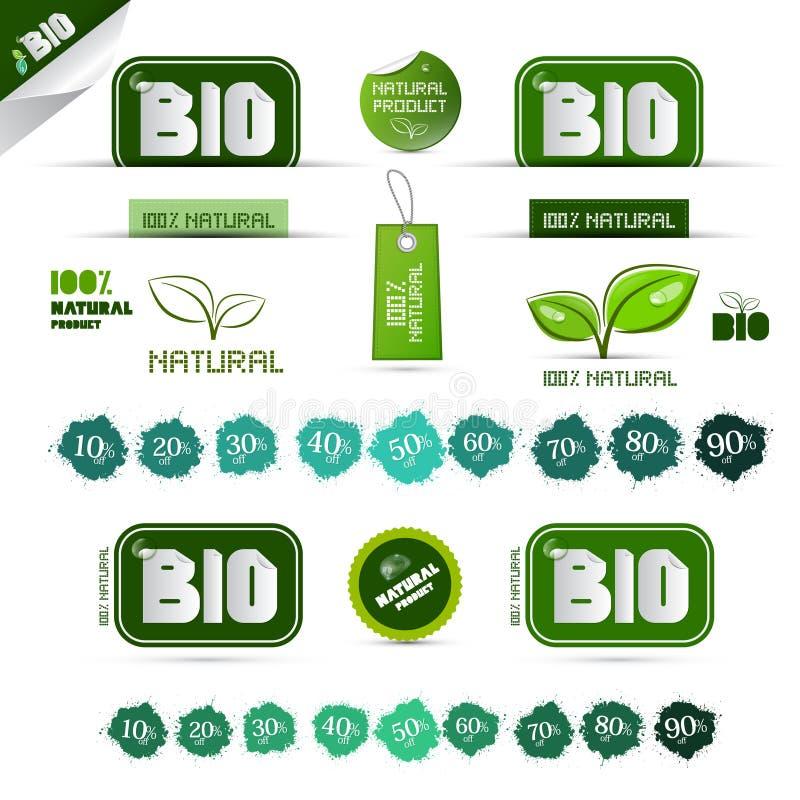 Bio - etiquetas do verde do produto natural ilustração do vetor