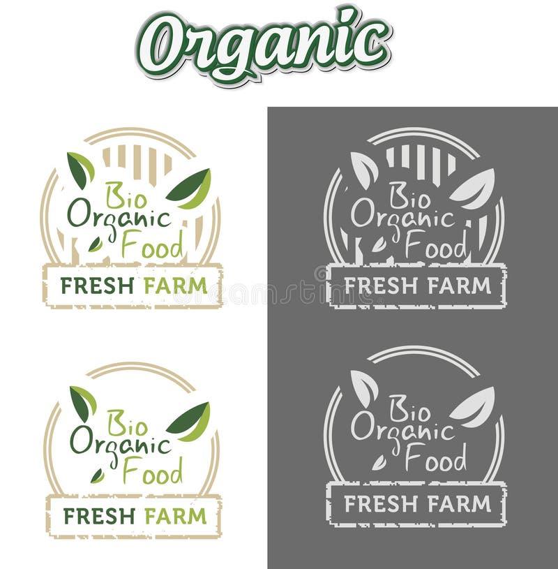 Bio etiquetas orgánicas naturales ilustración del vector