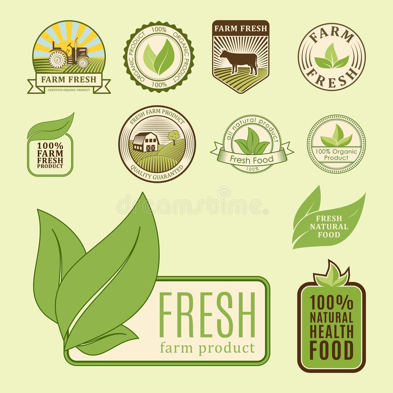Bio farm organic eco healthy food templates and vintage vegan green color for restaurant menu or package badge vector vector illustration