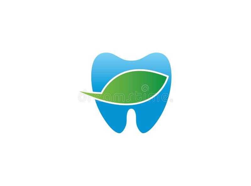 Bio feuille de witn de symbole de soin de dents bleues pour l'illustration de conception de logo de clinique de dentiste illustration de vecteur