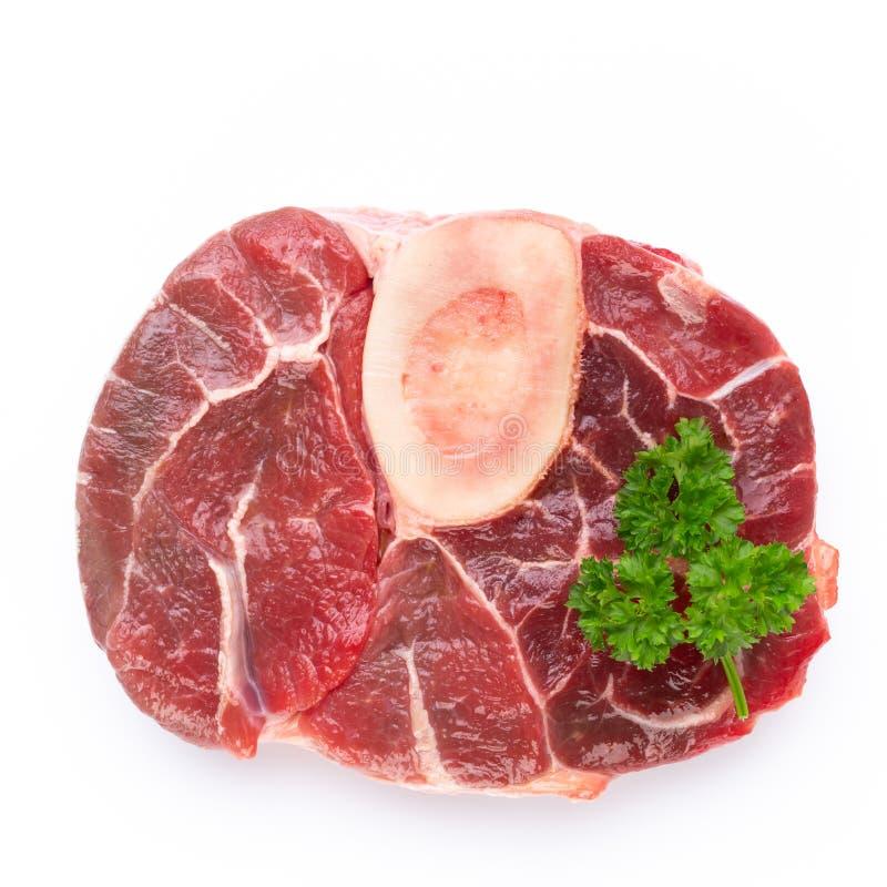 Bio filete de carne de vaca crudo fresco aislado en el fondo blanco foto de archivo libre de regalías
