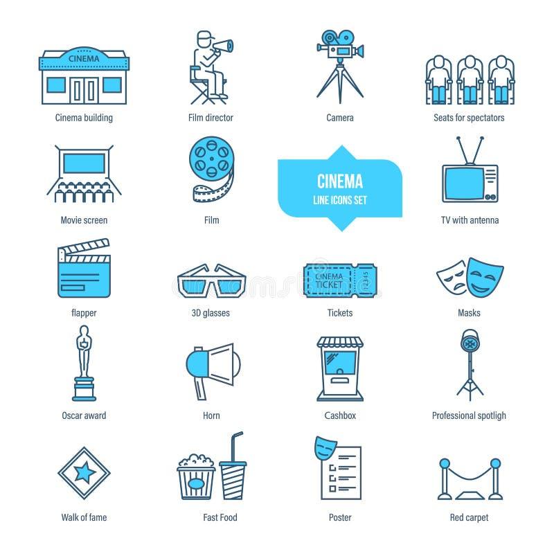 Bio film, filmande, tunn linje symboler, pictogram, symboluppsättning för film vektor illustrationer