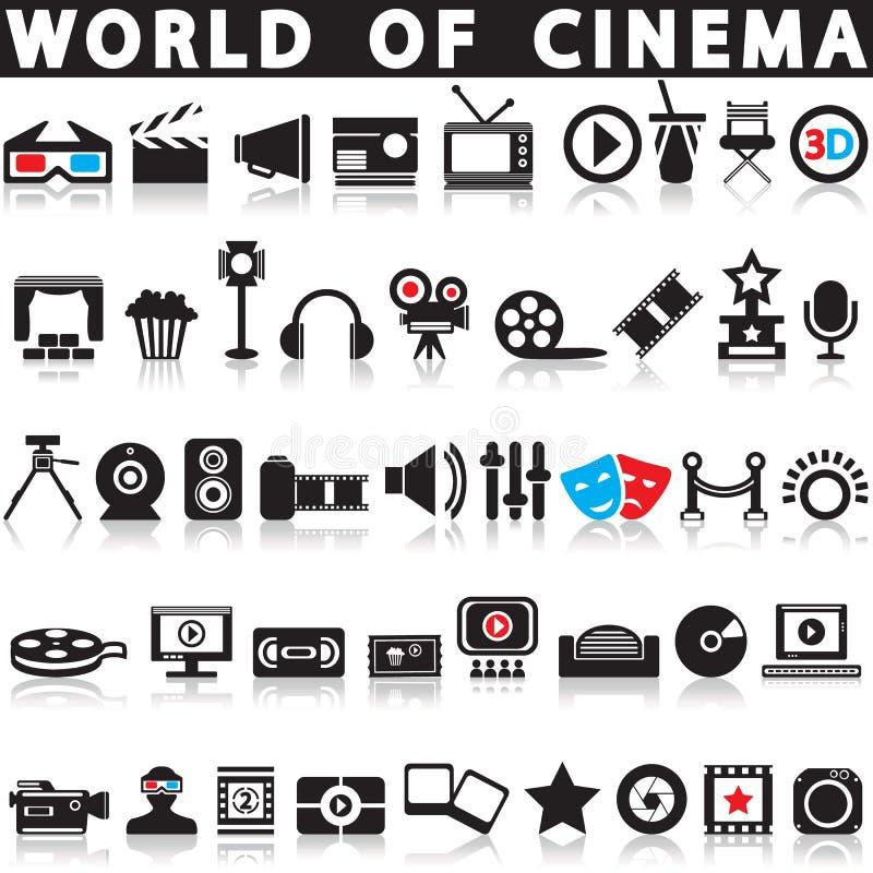 Bio-, film- och filmsymboler royaltyfri illustrationer