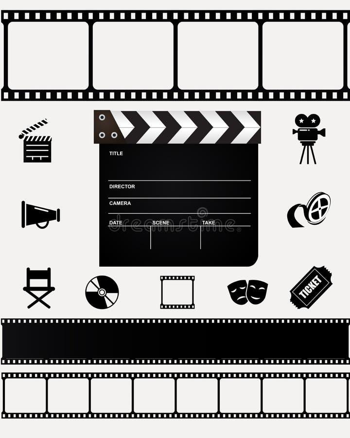 Bio filmsymboler på vit bakgrund royaltyfri illustrationer