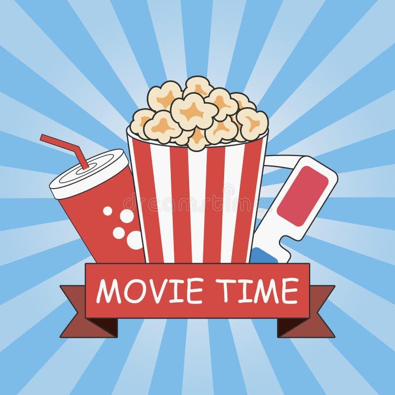 bio Filmtid Affischdesign med popcorn, exponeringsglas 3d, sodavattenkoppen och bandet Banermall med blå solstrålebakgrund stock illustrationer