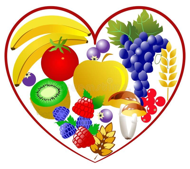 Bio food, healthy heart royalty free illustration