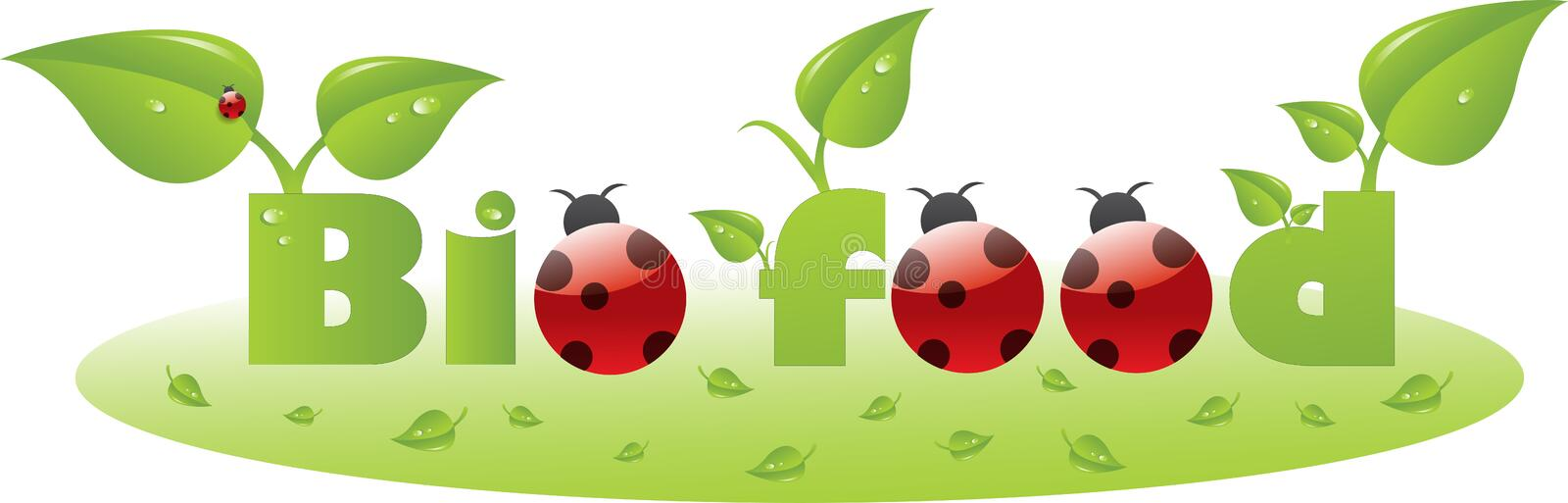 Bio food text caption with ladybugs vector illustration