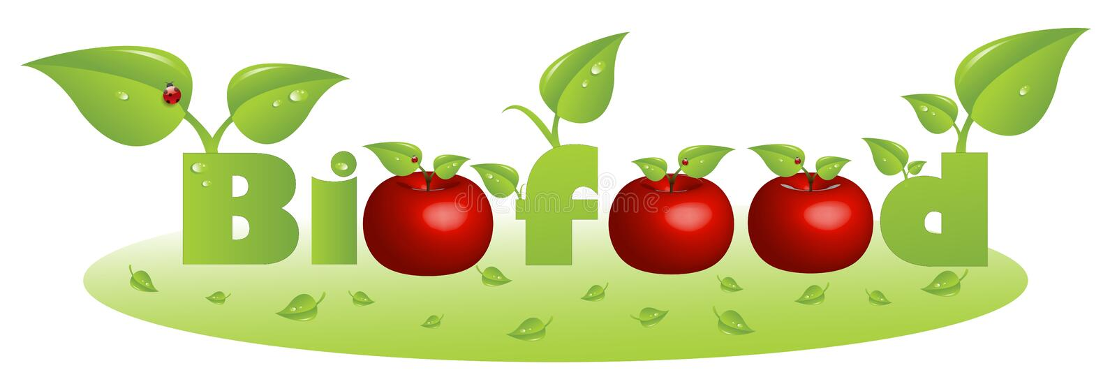Bio food text caption with red apples stock illustration