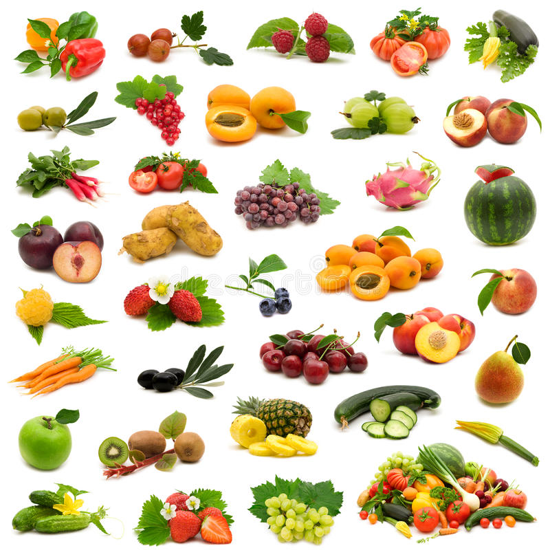 Bio fruits and vegetables. Large page of bio fruits and vegetables on white background royalty free stock images