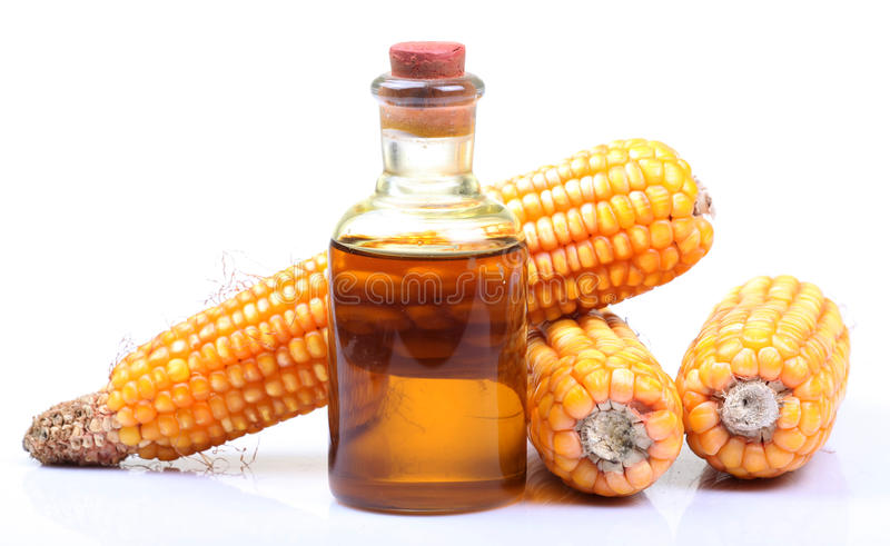Bio fuel. Corn and bio fuel bottle over white background stock photography