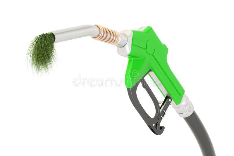 Bio fuel concept, gas pump nozzle with green grass, 3D rendering vector illustration