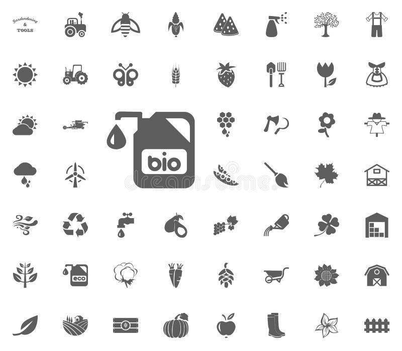 Bio gödningsmedelsymbol Arbeta i trädgården och uppsättning för hjälpmedelvektorsymboler stock illustrationer
