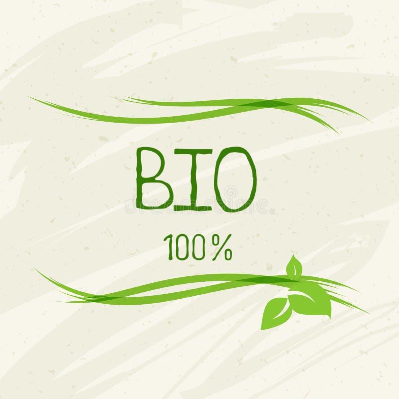 Bio gezond natuurvoedingetiket en hoog - de kentekens van het kwaliteitsproduct Eco, 100 bio en natuurlijk productpictogram Emble royalty-vrije illustratie