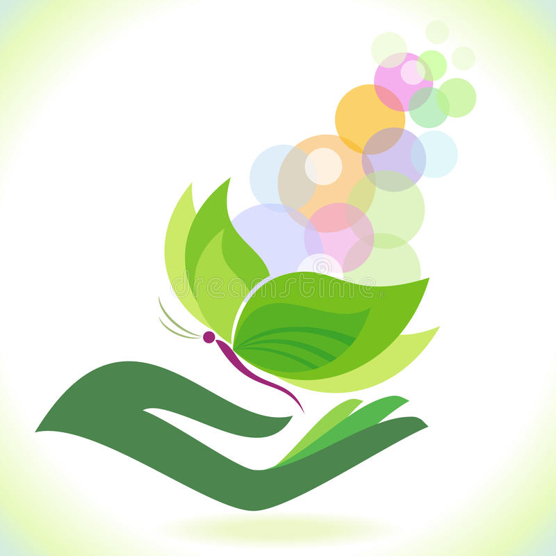 Bio Green Butterfly - Save Environment stock illustration