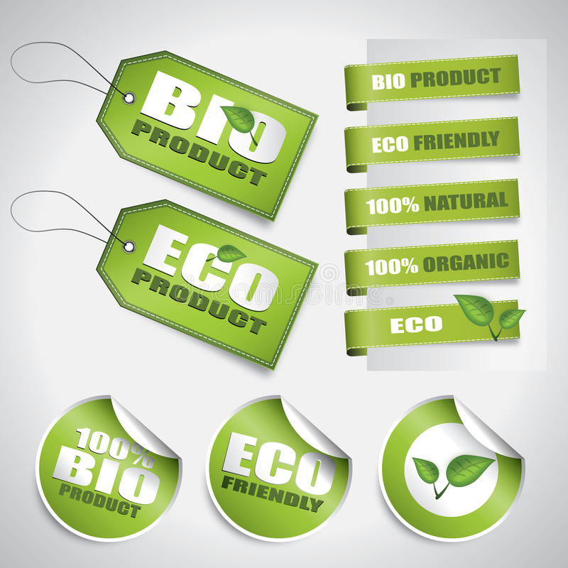 Download Bio green labels and tags stock vector. Image of label - 24089344