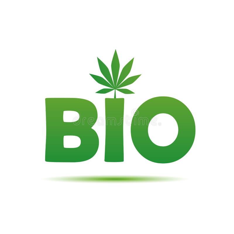Bio groene typografie met cannabisblad royalty-vrije illustratie