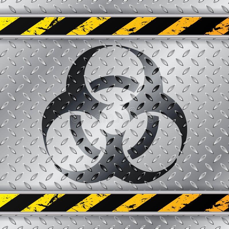Bio hazzardvarningstecken på den metalliska plattan stock illustrationer