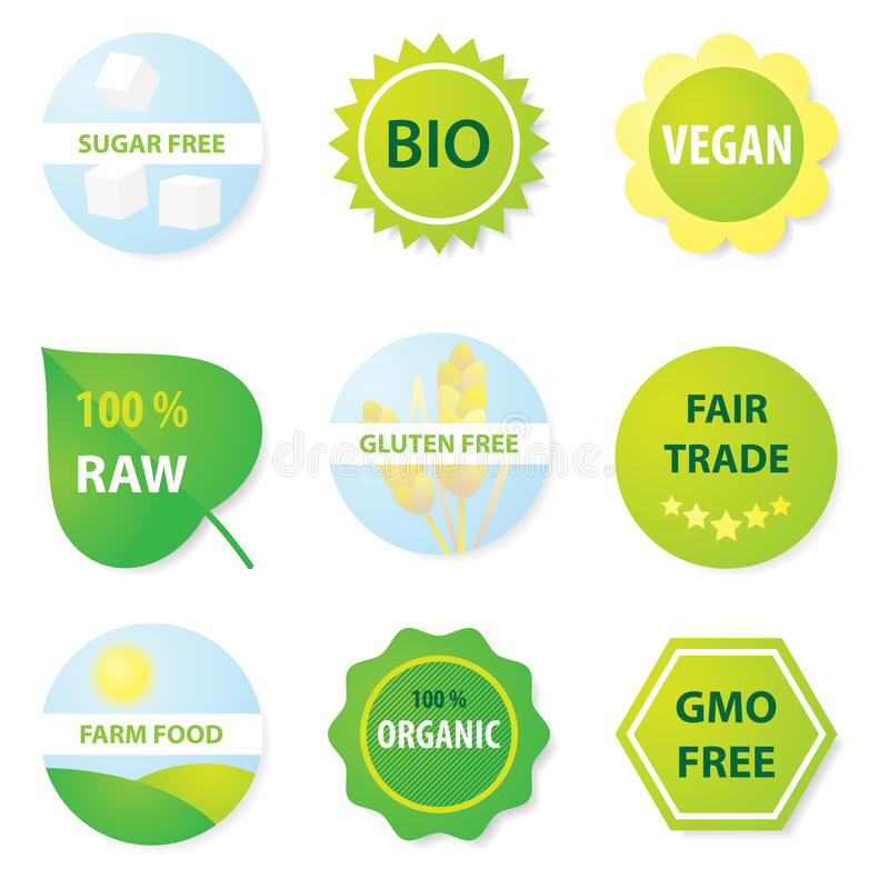 Bio and healthy food labels vector illustration
