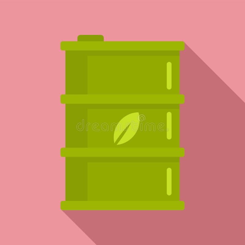 Bio- icona del barilotto del combustibile, stile piano illustrazione di stock