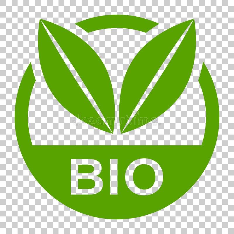 Bio- icona di vettore del distintivo dell'etichetta nello stile piano Prodotto biologico s di Eco illustrazione vettoriale