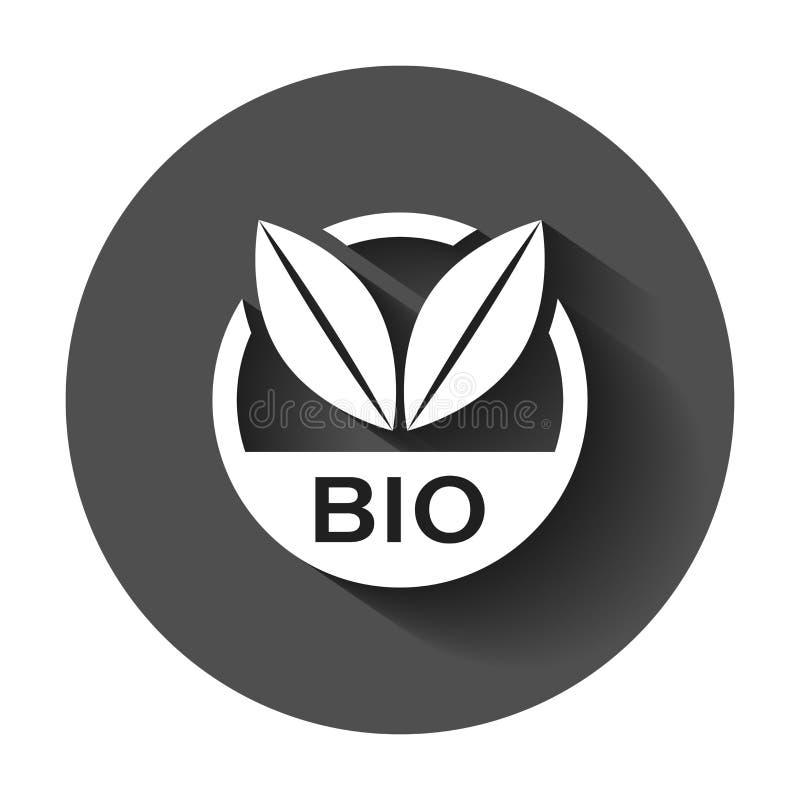 Bio- icona di vettore del distintivo dell'etichetta nello stile piano Prodotto biologico s di Eco royalty illustrazione gratis
