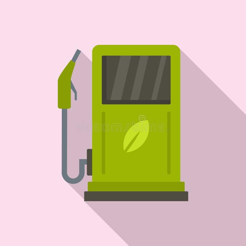 Bio icono de la estación del combustible, estilo plano libre illustration