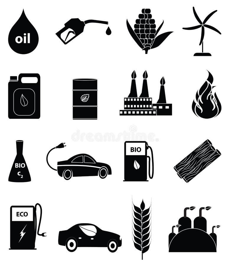 Bio iconos de energía combustible fijados ilustración del vector