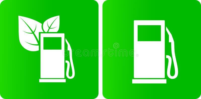Bio iconos verdes de la gasolinera ilustración del vector