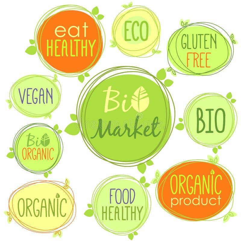Bio- insieme dell'icona di vettore delle etichette, dei bolli o degli autoadesivi con i segni - il bio- mercato, il glutine liber illustrazione vettoriale