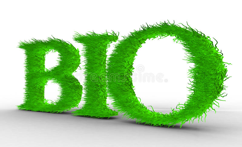 Bio. Letters with grass on it. stock illustration