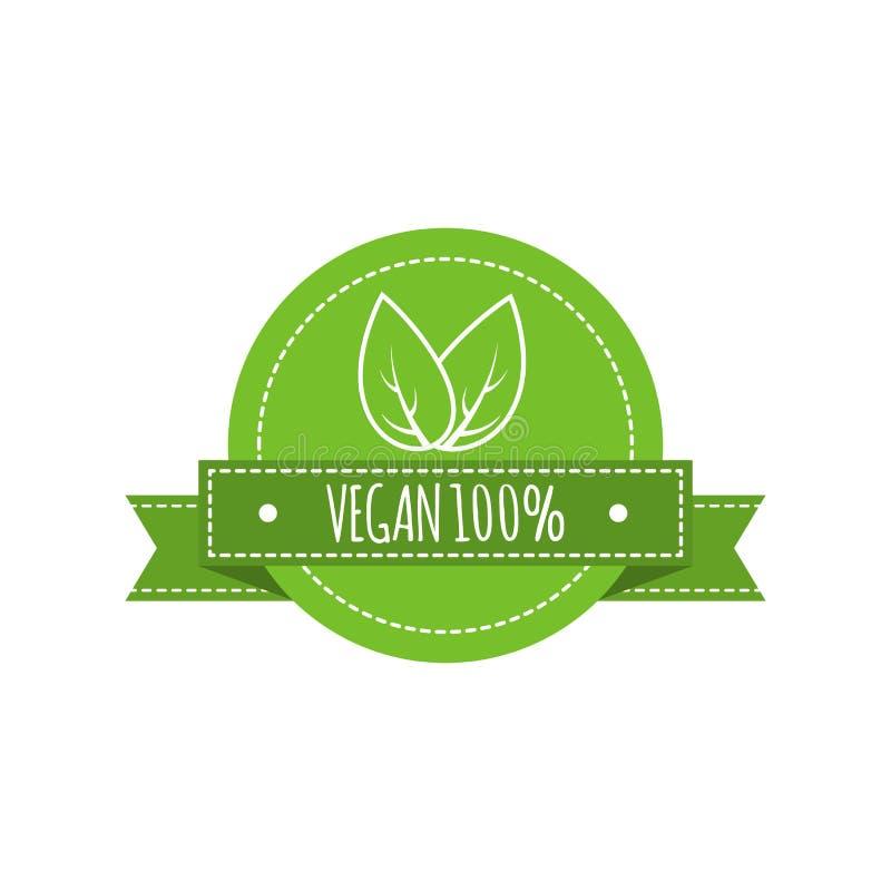 Bio logotipo de la comida Insignia del vector del vegano Muestra de la comida del vegano con las hojas Diseño orgánico Ilustració ilustración del vector