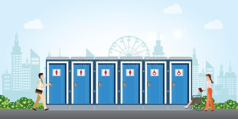 Bio mobila toaletter i stad med mäns och kvinnors rörelsehindrade toalett stock illustrationer